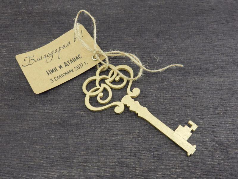 Дървен ключ, декоративен, с размери 12/5 см.; дебелина: 4 мм. За подаръци за гости, фотосесия. Можем да изработим различни размери от този модел. Цветове: бяло, злато, сребро, орех. Цена за брой (при миним.поръчка 50 бр.): 2.80 лв. Цена за табелка с печат и панделка: 0,30 лв
