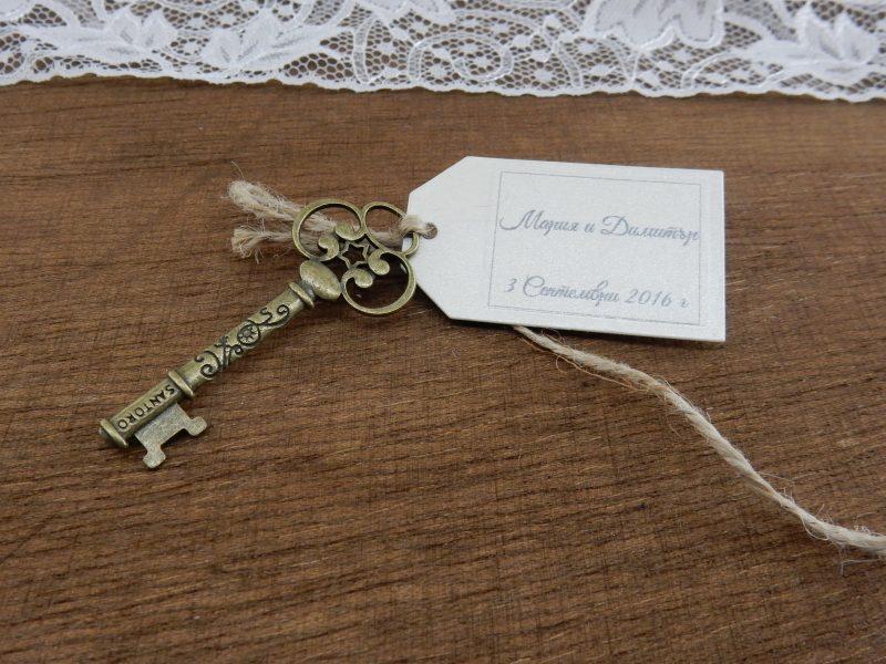 Метален ключ в тъмно златист цвят. Ще добавим и етикет е с надпис по ваш избор с размер 3,2 x 5,5 см. Размер на ключа - 6см / 2,5 см. Минимално количество за поръчка: 50 броя. Цена за 1 брой: 1.90 лв.