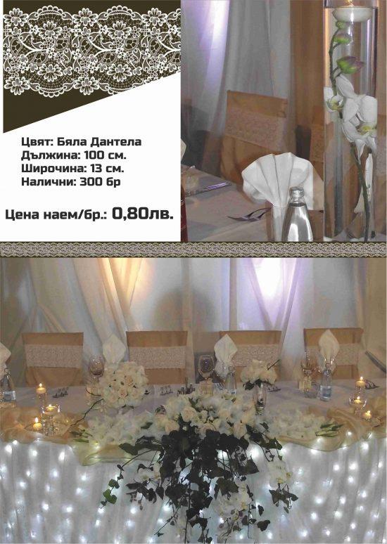 Панделки за столове Бяла дантела. Цена за наем: 0,80 лв.