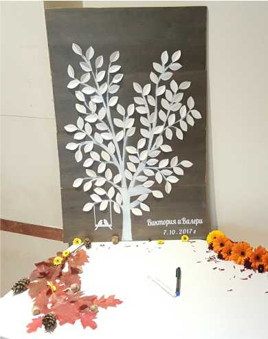 Дървено пано за пожеланията на гостите ви. Дървото е рисувано, а върху клоните му ръчно сме добавили листенца от луксозен перлен картон. Имената на младоженците са изработени от фолио. Към комплекта е включен и един тънкописец. Със 125 листенца за всеки гост. Размери на паното: 80/50 см. Цена за комплекта: 85 лв.