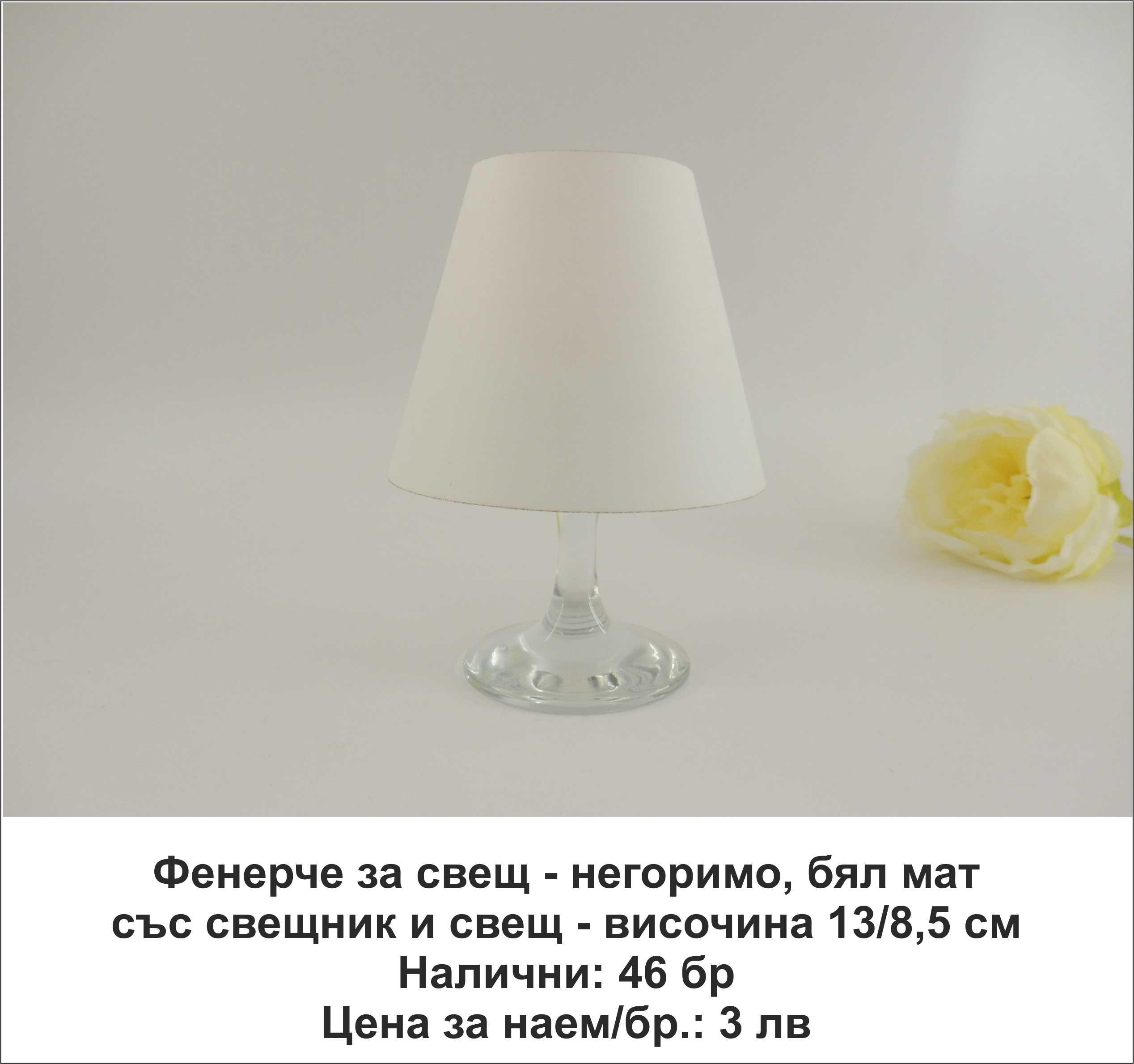 Фенерче за свещ - негоримо, бял мат, със свещник и свещ. Височина: 13 см. Цена за наем на комплект: 3 лв.
